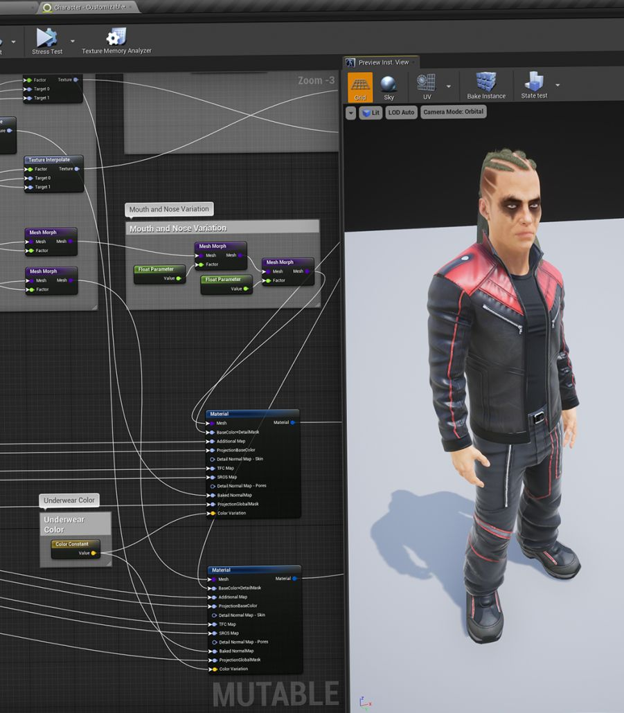 Mutable Character Customization is completely integrated into UE4